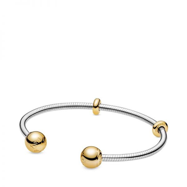 PANDORA Snake Chain Style Öppen Armring Silver Med Gulddetaljer