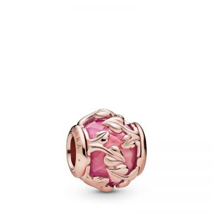 PANDORA Pink Decorative Leaves Berlock