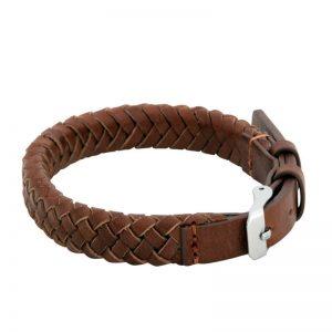 By Billgren Flätat Brunt Armband Italienskt Läder