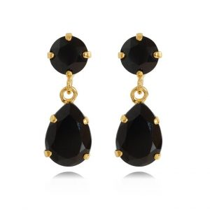 Caroline Svedbom Mini Drop Earrings Gold Jet