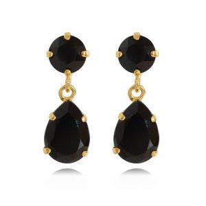 Caroline Svedbom Mini Drop Earrings Gold Jet