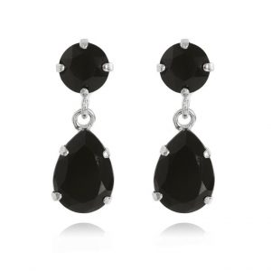 Caroline Svedbom Mini Drop Earrings Rhodium Jet