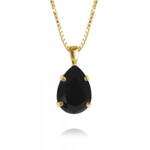 Caroline Svedbom Mini Drop Necklace Gold Jet