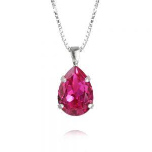 Mini Drop Necklace Fuchsia Rhodium, fri frakt och presentinslagning på jewelrybox.se