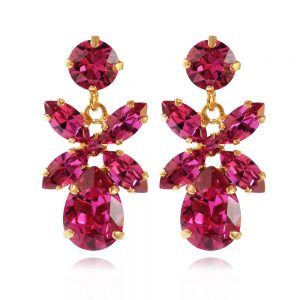 Caroline Svedbom Mini Dione Earrings Gold Fuchsia