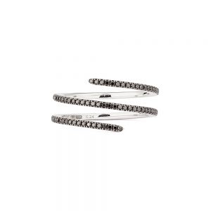 Engelbert Petit Double Spin Ring Vitguld Black Diamonds