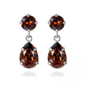 Caroline Svedbom MINI DROP EARRING RHODIUM SMOKED TOPAZ