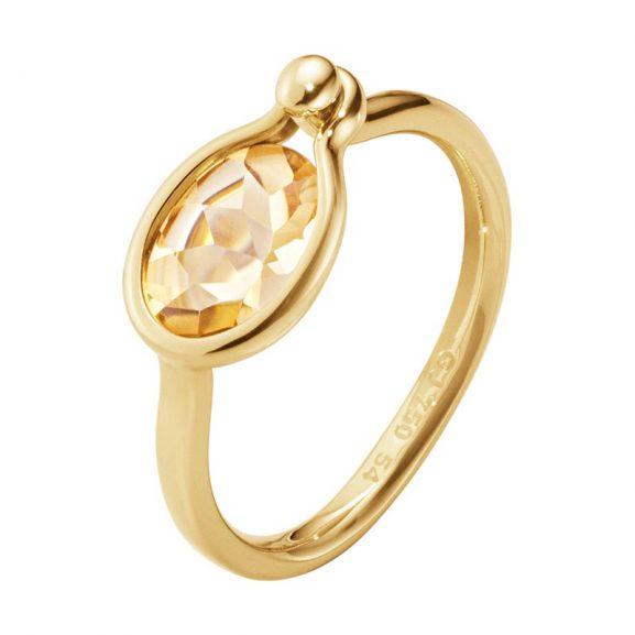 Georg Jensen Savannah Ring Small 18 K Guld Guld Med Citrin