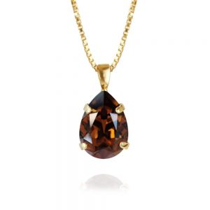 Classic Drop Necklace Gold Smokes Topaz