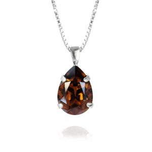 Classic Drop Necklace Rhodium Smokes Topaz