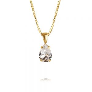 Petite Drop Necklace Gold Crystal