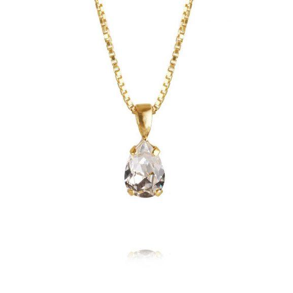 Petite Drop Necklace Gold Crystal