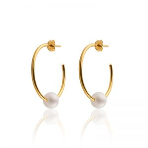 Sophie By Sophie  Pearl hoops - Gold with white pearl