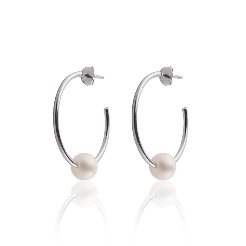 Sophie by sophie pearl hoops - silver