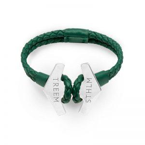 Stark Grön Läder och Oxiderad Silver från Treem