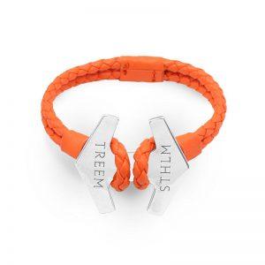 Stark Orange Läder och Oxiderat Silver från Treem