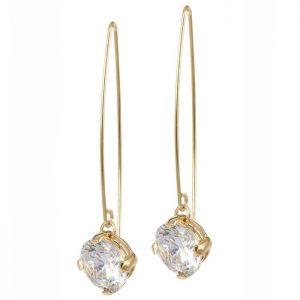 FRIDA Långt Örhänge Guld/kristall från Astrid & Agnes