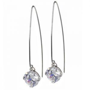 FRIDA Långt Örhänge Stål/kristall från Astrid & Agnes