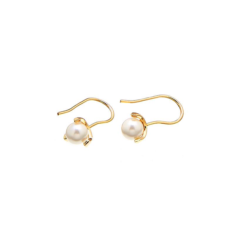CU Jewellery Pearl Long Ear Gold