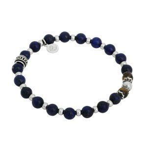 Beadsarmband Lapis/Blå tigeröga Stål Teen från By Billgren