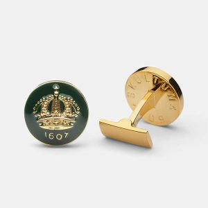 Cuff Links Crown Racing Green Gold Plated från Skultuna