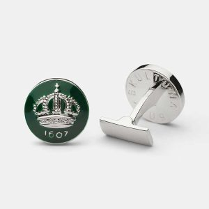Cuff Links Crown Racing Green Silver Plated från Skultuna