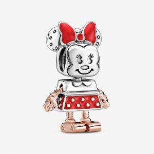 Disney Minnie robot sterling silver and Pandora Rose charm with red enamel från PANDORA