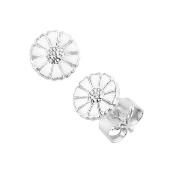 Daisy Mini Örhängen Silver med Vit Emalj från Georg Jensen