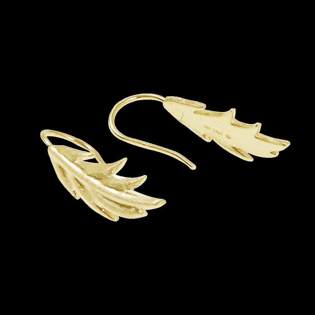 CU Jewellery Feather/Leaf Short Ear Gold