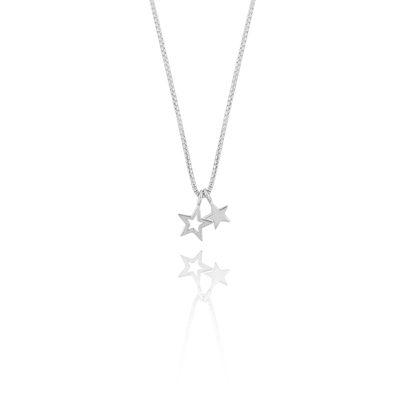 CU Jewellery Double Star Pendant Neck Silver