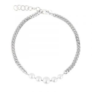 Pearl Chain Short Necklace Rhodium från Sophie By Sophie