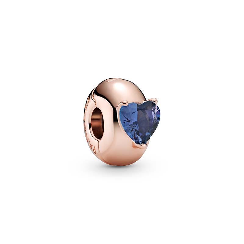 Pandora Blue Heart Solitär Klämstopp Rosé