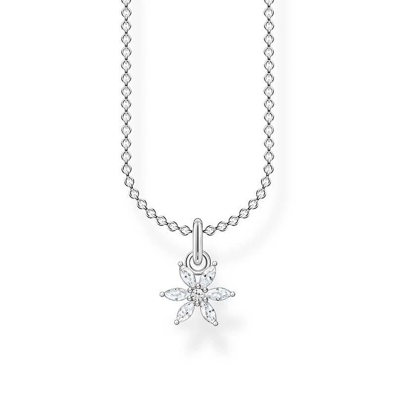 Thomas Sabo Halsband Blomma med Vita Stenar Silver