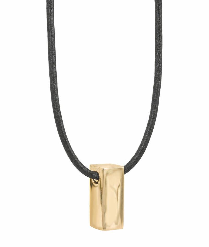 AROCK TIM Läder Halsband Guld