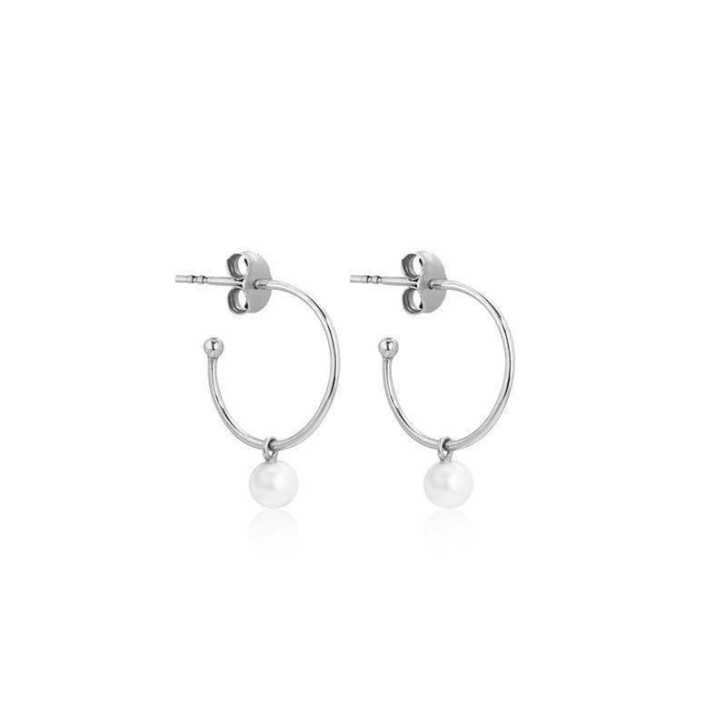 Sophie by sophie pearl mini hoops silver