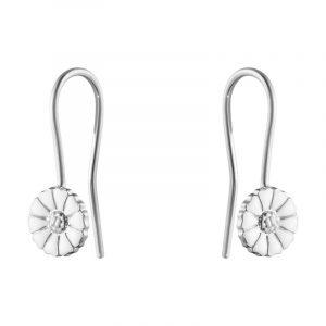 Daisy Mini Krokörhängen Silver Med Vit Emalj från Georg Jensen