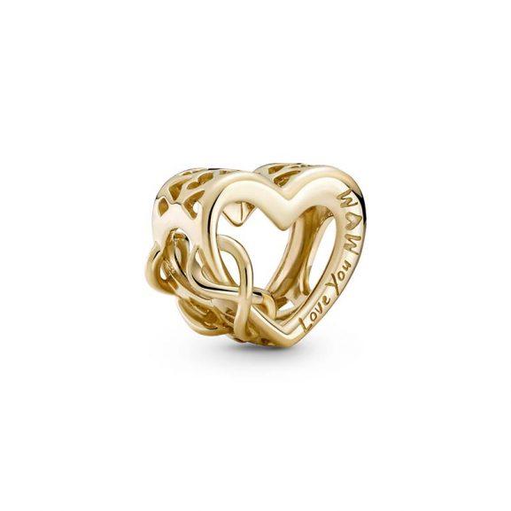 Älskar Dig Mamma Evighetstecken Hjärta Berlock 14K Guld från PANDORA