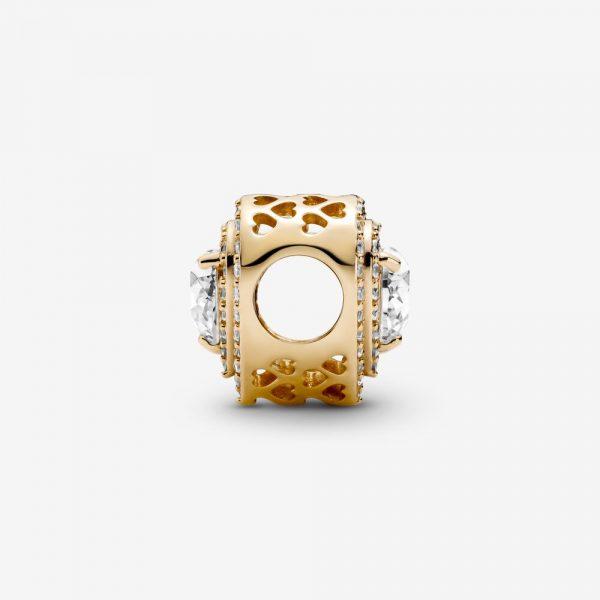 Glittrande Plana Hjärtan Berlock 14K Guld från PANDORA
