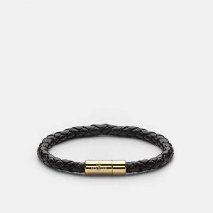 Leather Bracelet Gold - Black från Skultuna