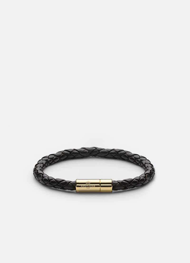 Skultuna Leather Bracelet Gold - Black