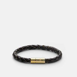 Leather Bracelet Gold - Dark Brown från Skultuna