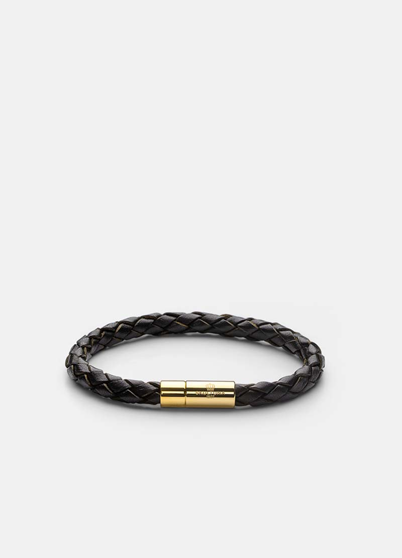 Skultuna Leather Bracelet Gold - Dark Brown