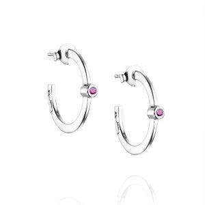 Micro Blink Hoops - Pink Sapphire från Efva Attling