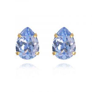 Mini Drop Stud Earrings Gold Light Sapphire från Caroline Svedbom