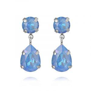 Mini Drop Earrings Rhodium Ocean Blue Delite från Caroline Svedbom