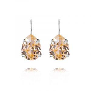 Mini Drop Clasp Earrings Rhodium Light Peach från Caroline Svedbom