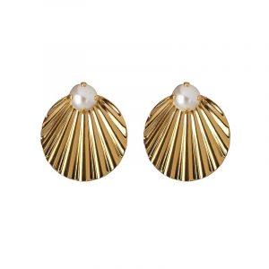 Milos Earrings Gold Pearl från Caroline Svedbom